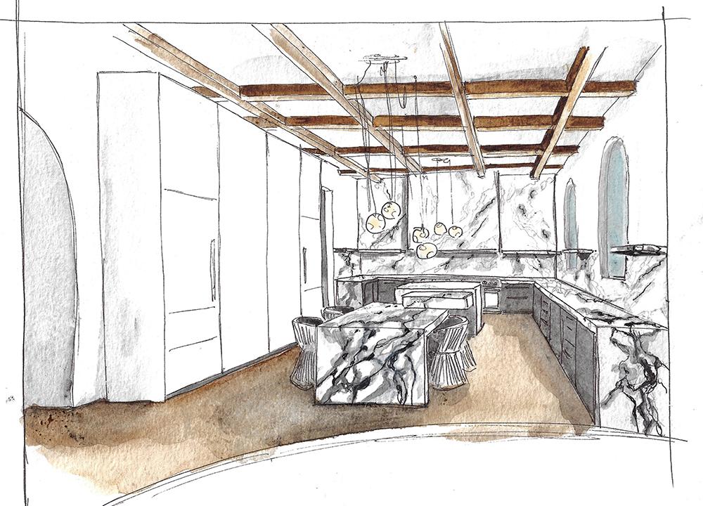 Watercolor Kitchen, Residential Design - Valerie Legras Atelier