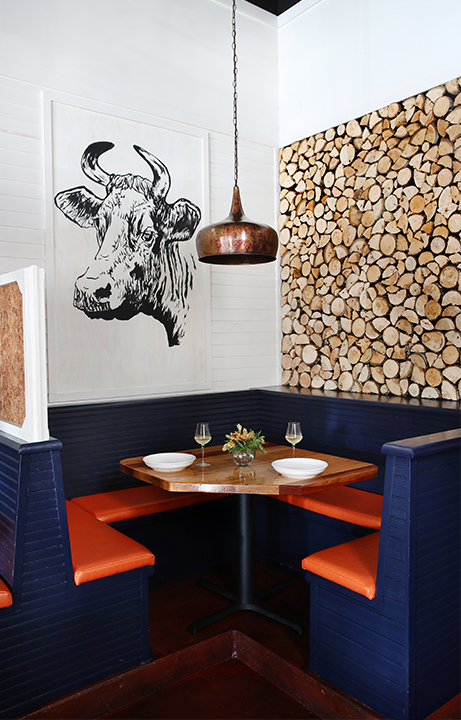 Pyre Provisions, Restaurant Design, Corner Booth