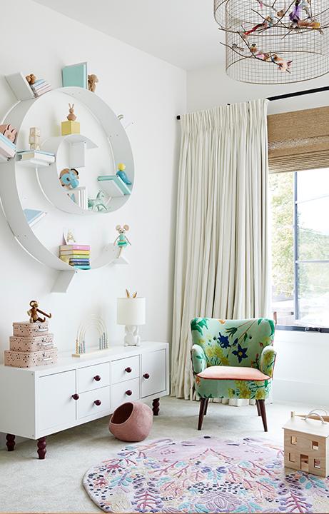Children's Menagerie Bedroom, Swirl Bookcase, Home Design for Kids - Valerie Legras Atelier