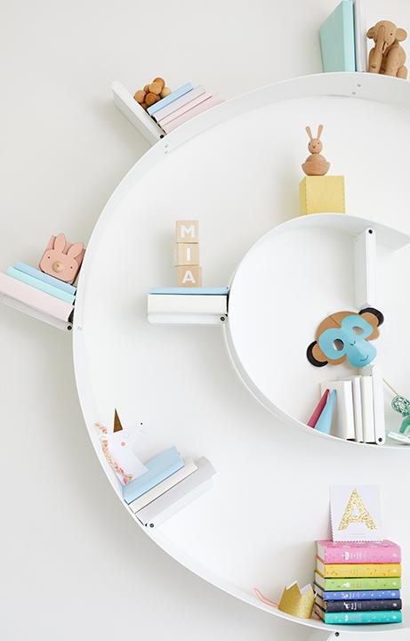Children's Menagerie Bedroom, Swirl Bookcase Detail, Home Design for Kids - Valerie Legras Atelier